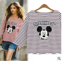 New Style Mickey Stripe Top Loose T-Shirt