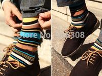 HOT SALE Free Shipping Autumn 100% Cotton Elegant Stripe Multicolour Socks Men Value Mixed 1 lot =20pieces=10pairs