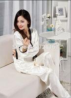 Women Sexy Silk Long Sleeve Autumn Winter Chiffon Pijama Sleepwears Pajamas Pyjamas