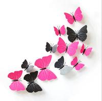 50%off  12Pcs/Lot 3D Butterflies For Wall Art Decal Removable Home Decoration DIY Beautiful Wall Stciker tatoos
