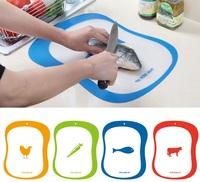 250pcs/lot 20*15cm Plastic Chopping Block Non-slip Matte Antibacteria Cutting Board Fruit Plates Green Classified Boards