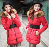 New Women Coat Raccoon Rur Collar Zipper Pockets Fashion Casual Slim Warm Winter Parkas Down Jacket  Free Shipping XX692