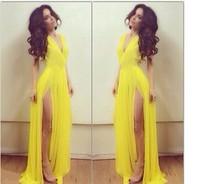 2014 Fashion Women's Autumn Vestidos dress Two Side Yellow Chiffon Sleeveless Party Mermaid Long Dress KF106 S M L Plus Size