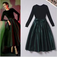 2014 New Arriva Autumn Runway Designer Prom Dress Women's Long Sleeves Expanding Bottom Knitting Patchwork Mid Calf Dress