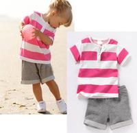 2014 summer new design children clothing set for baby girls red white striped shirt grey short pants k6719