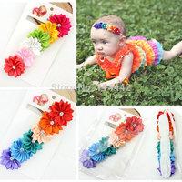 Free shipping 6pcs / lot 2014 popular Satin Ribbon Multilayers Flower rhinestone hairband for baby girl  princess headband
