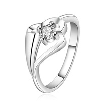 FREE SHIPPING!5pcs wholesale 925 Sterling SILVER Elegant design with white crystal Rings size (7,8) choose size,Drop shipping