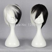 Half Black Half White Short Wig Anime Cosplay Cruella DeVille Wig Girls Natural Kanekalon no Lace Front hair wigs Free deliver