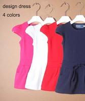 2015 new summer children clothing girls dress Mini sport tennis dress knitted casual princess 2-6T baby girl Cotton Pocket