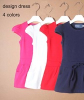 2014 new summer children clothing girls dress Mini sport tennis dress knitted casual princess 2-6T baby girl Cotton Pocket