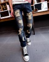 2014 trend trousers distrressed pants jean men deep blue trousers hole jeans men ripped jeans