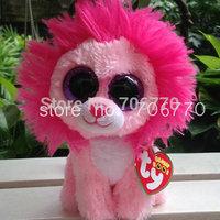 "IN HAND!  2014 Ty beanies Boo Cute Big eyes Animal ~Fluffy Pink Lion~~Plush doll 6"" 15cm Stuffed TOY ~~DEFECT EYE~~free shippin"