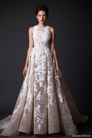 2015 High-Grade Wedding Dress With Lace  Handmade Flowers Dress Wedding Gown Made In China