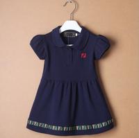 2014 new brand 3colors summer children clothing girls dress Mini dress knitted casual princess dress 2-6T baby girl dress pocket