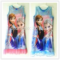 Free shipping children clothing FROZEN Elsa and Anna girl  nightie nighties sleeveless pajamas nightgown sleep nightie dress 2