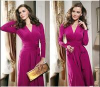 Women autumn dress vestidos fashion 2014 new women clothes long sleeve v-neck pleats lacing skater dress red long dress