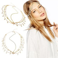 2014 Fashion Gold Plated Head Chain Pieces Women Boho Headpiece Headband Hair Head Chain with White Crystal Pendant