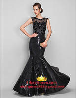 Trumpet/Mermaid Scoop Sweep/Brush Train Sequined and Tulle Evening Dress