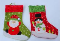 "New Year Christmas Socking 26cm/10"" (6pcs/lot)Christmas Decoration Hanging socks Santa Claus Snowman Christmas gifts socks"