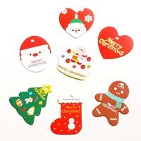 210pcs/ lot  Korean stationery wholesaleChristmas  cute Santa oval shape gift tag / bookmark message card 7 design free shipping