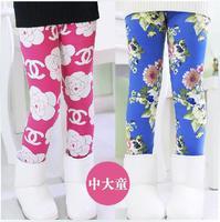 2014 children's clothing female children's winter pants milk silk velvet thickening female child flower trousers child legging