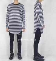men black and white striped t shirt long sleeve extended designer brand oversized side slit pyrex hip hop yeezus kanye west tyga