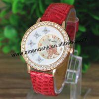 100pcs/lot Fashion Women Rhinestone Butterfly Leather Quartz Watch Snake Style Dress Wristwatch Hot  Students Casual Watches