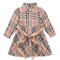 2015 new Brand plaid dress girls long-sleeve autumn spring children's clothing princess dress 2-6T fashion baby girl clothes