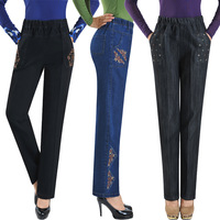 The elderly autumn female trousers denim elastic waist pants casual pants elastic waist embroidered pants