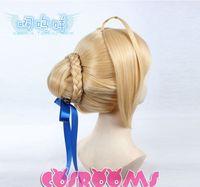 Kanekalon costum hair women's Girls Fate stay night Saber Anime  Wig Natural Kanekalon no Lace Front hair wigs Free deliver