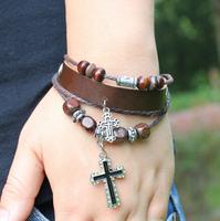 2014 Wholesale Hot Sale Vintage Multi-layer Beads Bracelet Jewelry Leather Men Cross Bracelet FB0236