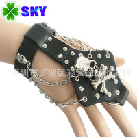 Rock Perfermance! Stainless Steel Rivet with Skull Created Design Leather Bracelet Chain, Adjustable Size CC010