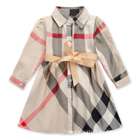 2015 new Brand plaid dress girls long-sleeve autumn spring children's clothing princess dress 2-6T fashion baby girl clothes