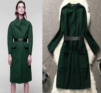 New fashion 2014 long wool winter women coat elegant V Neck plus size desigual cashmere casacos femininos black with waist belt