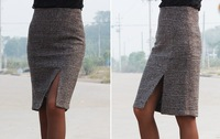Autumn Winter 2014 Korean Style Women Woolen Basic Short Mini Skirts Brand Slim Hip Classic Plaid Wool High Wasit Skirts