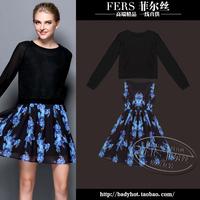 Women's 2014 autumn twinset one-piece dress slim tank dress plus size clothing print short skirt 2pcs/set