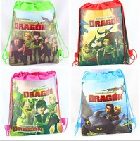 factory price Free shipping 50pcs/lot HOW TO TRAIN DRAGON Cartoon Bag-woven fabrics Kid's School bag 34X27CM,Xmas gift