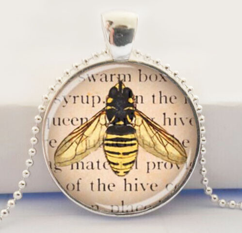 Queen Bee Jewelry Glass Art Pendant Picture Pendant Honey Bee Necklace