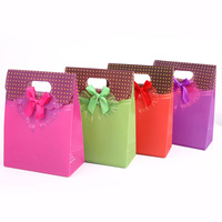 wholesale 12Pcs/Lot PP with Satin Dot Bow Jewellery Packaging Gift Bag 125mm*165mm*60mm Rose Red Purple Green Sale