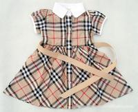 2015 new Brand plaid dress girls short-sleeve summer children's clothing princess tennis dress 2-6T fashion baby girl clothes