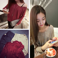 E-Unique Casualness 2014 Autumn Loose V-Neck Flash All-Match Sweater Long-Sleeve Pullover Women Sweater Tops WWB27