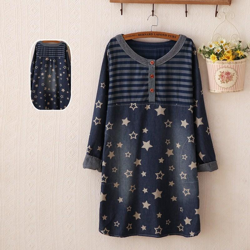 New Arrival 2015 Women Denim Dress Denim Printed Dresses Plus Size Star Striped O Neck Female Clothing Spring Japanese Mori girl(China (Mainland))