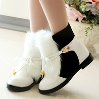 Fashion girls name brand white or black color cute winter warming flat snow boots genuine leather rabbit fur boots for women2544