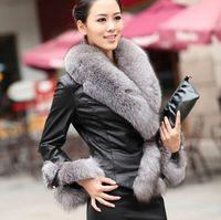 2014 Hot new trade imitation sheepskin coat jacket fox fur collar leather jacket woman jacket grass free shipping