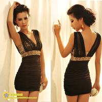 Evening dress short design slim sexy women's fashion one piece V neck bodycone dress