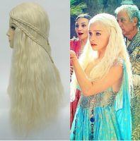 Targaryen Platinum golden braids Long hair cos wigNatural Kanekalon no Lace Front hair wigs Free deliver