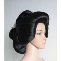 about Black Geisha Wig Full Wigs Natural Kanekalon no Lace Front hair wigs Free deliver