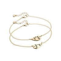 Occident Fashion 18K Gold Plated Friendship Bracelet Broken Heart Letters Bracelets 2Pcs / Set Wholesale
