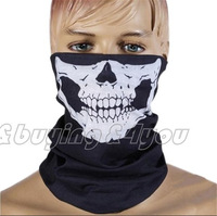 Free Shipping Halloween Cosplay Bicycle Ski Skull Half Face black party Mask Ghost Scarf Neck Warmer XP-006 New Arrivals