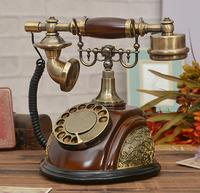 Free shippingAuthentic vintage antique telephone European pastoral retro antique wood telephone landline phone selection dial